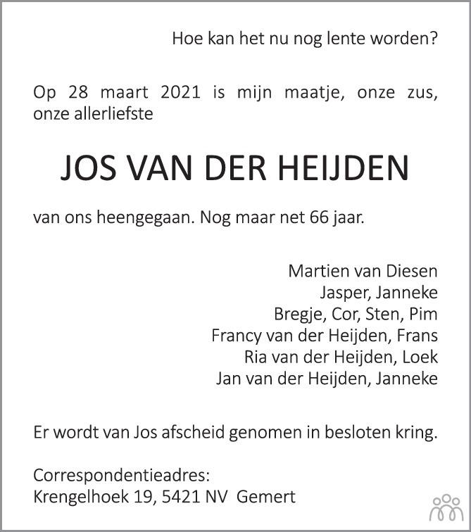 Overlijdensbericht van Jos van der Heijden in Eindhovens Dagblad