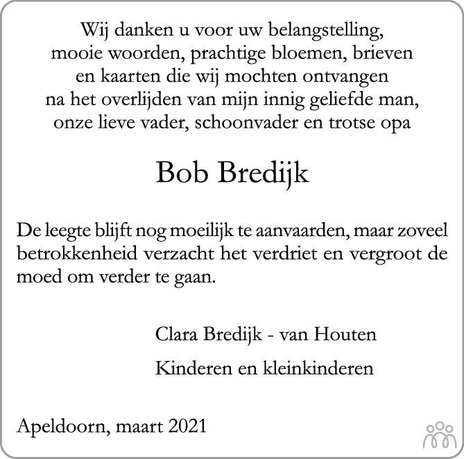 Overlijdensbericht van Albertus Floris (Bob) Bredijk in de Stentor