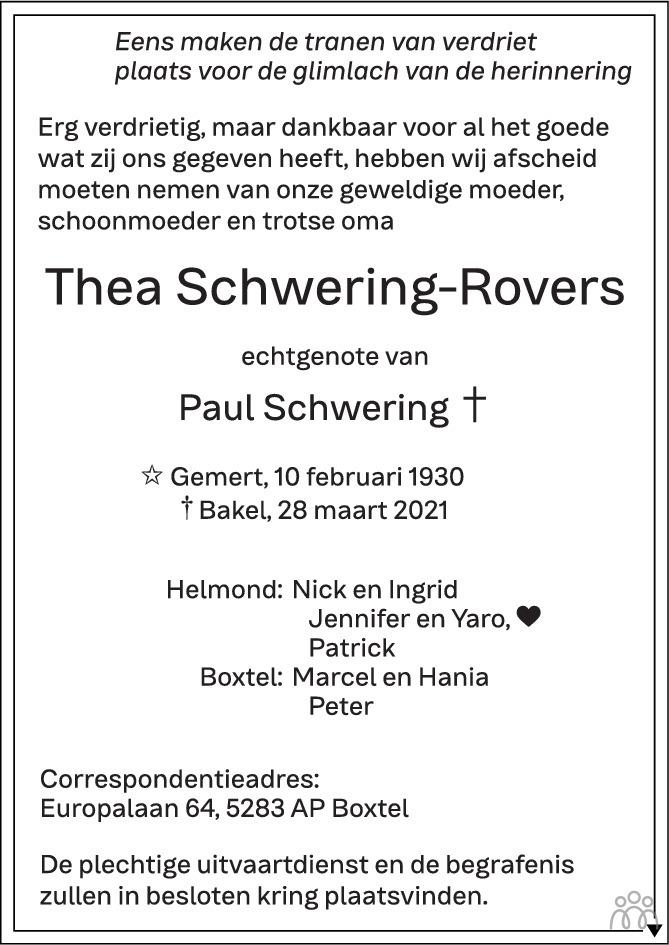 Overlijdensbericht van Thea Schwering-Rovers in Eindhovens Dagblad
