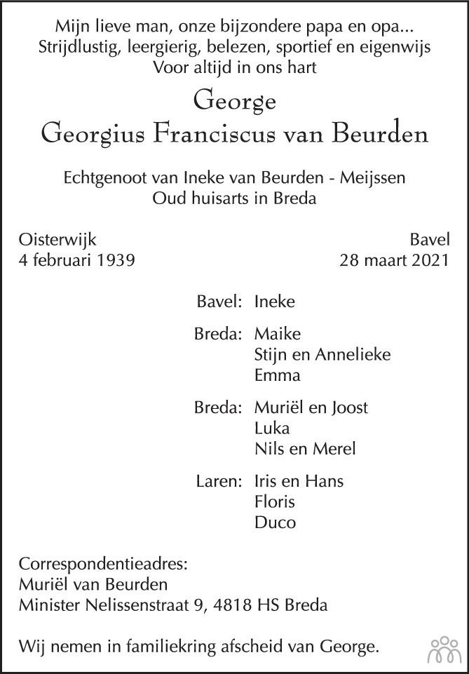 Overlijdensbericht van Georgius Franciscus (George) van Beurden in BN DeStem