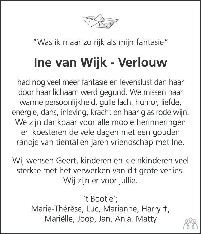 Overlijdensbericht van Ine (FJ. M. H.) van Wijk-Verlouw in Eindhovens Dagblad