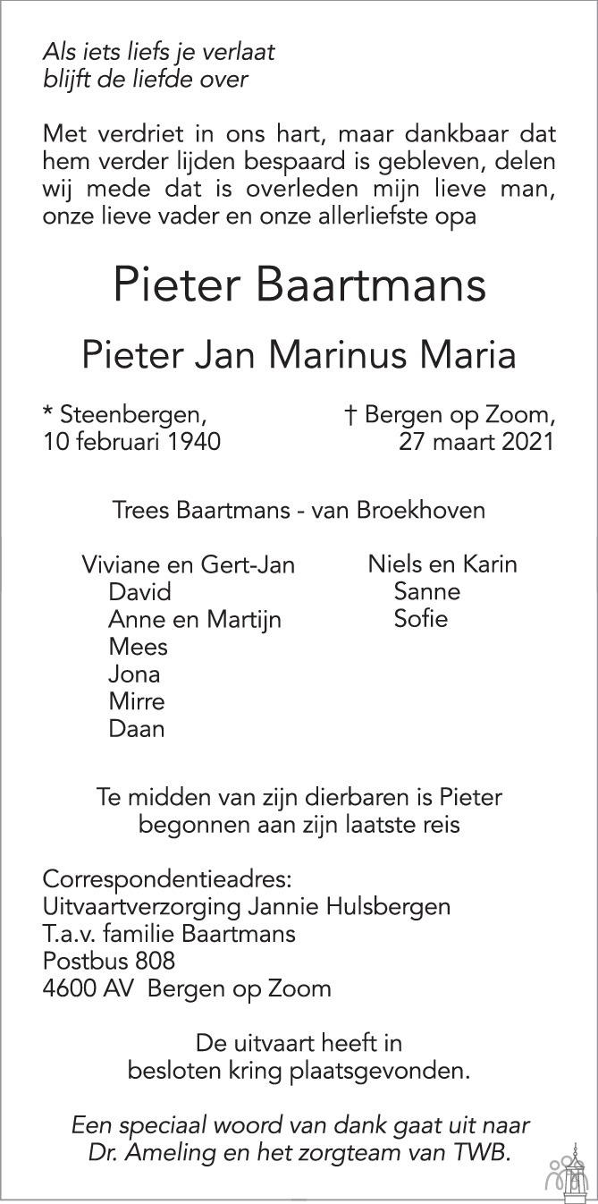 Overlijdensbericht van Pieter Jan Marinus Maria (Pieter) Baartmans in BN DeStem