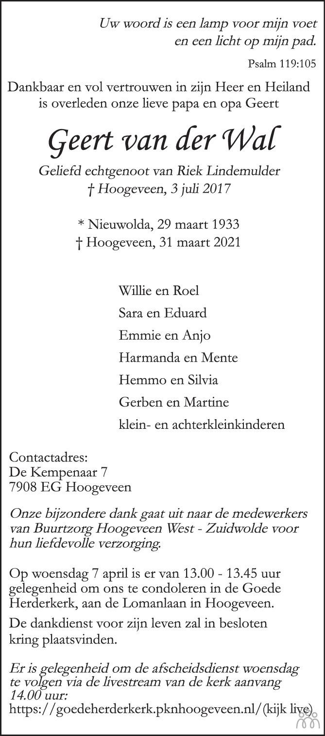 Overlijdensbericht van Geert van der Wal in Trouw