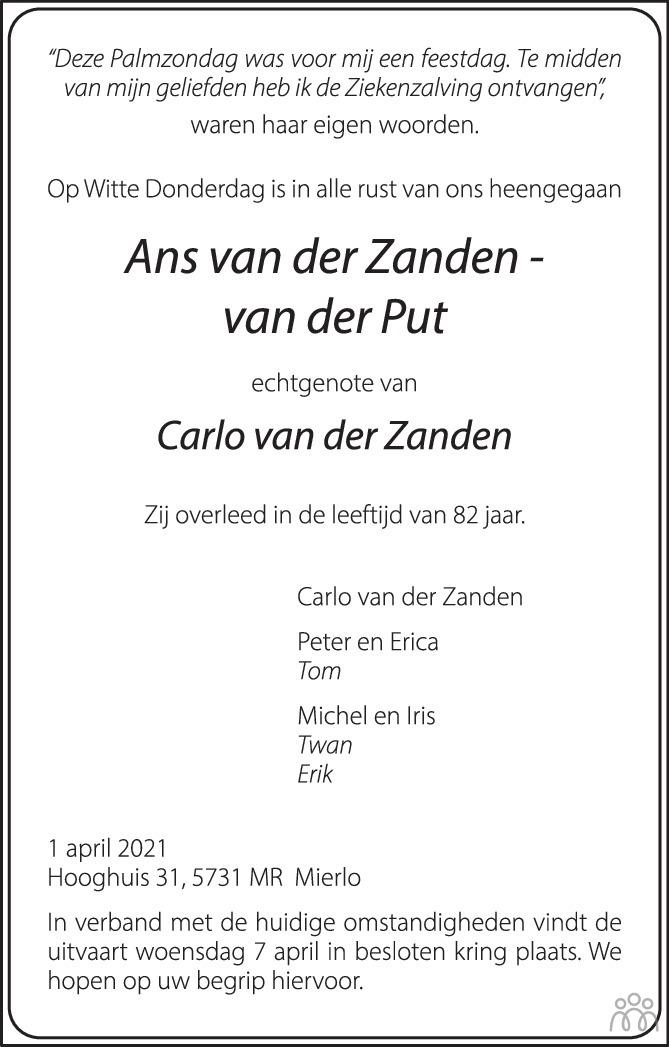 Overlijdensbericht van Ans van der Zanden-van der Put in Eindhovens Dagblad