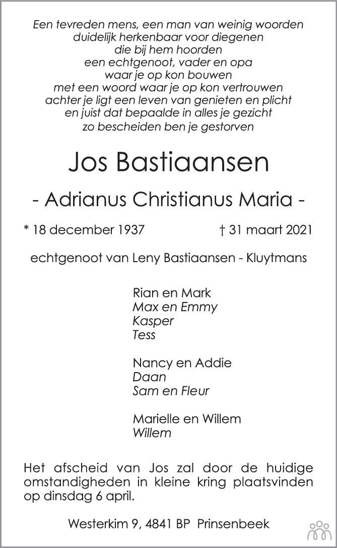 Overlijdensbericht van Adrianus Christianus Maria (Jos) Bastiaansen in BN DeStem