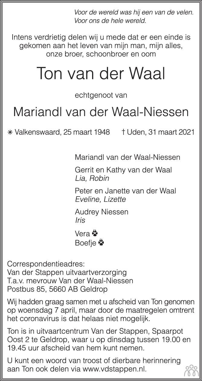 Overlijdensbericht van Ton van der Waal in Eindhovens Dagblad