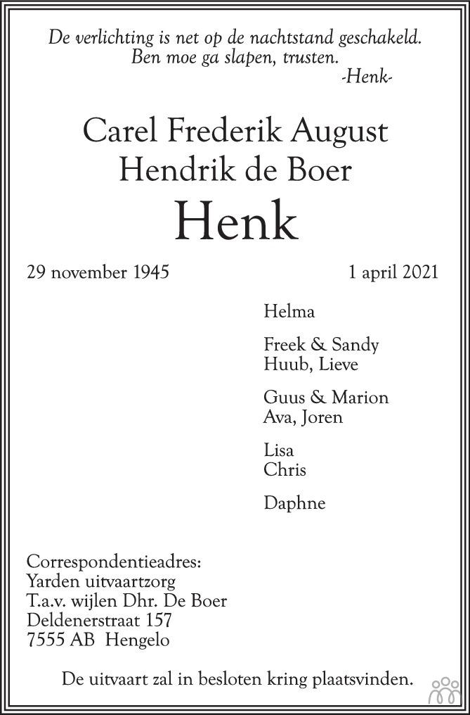 Overlijdensbericht van Carel Frederik August Hendrik (Henk) de Boer in Tubantia