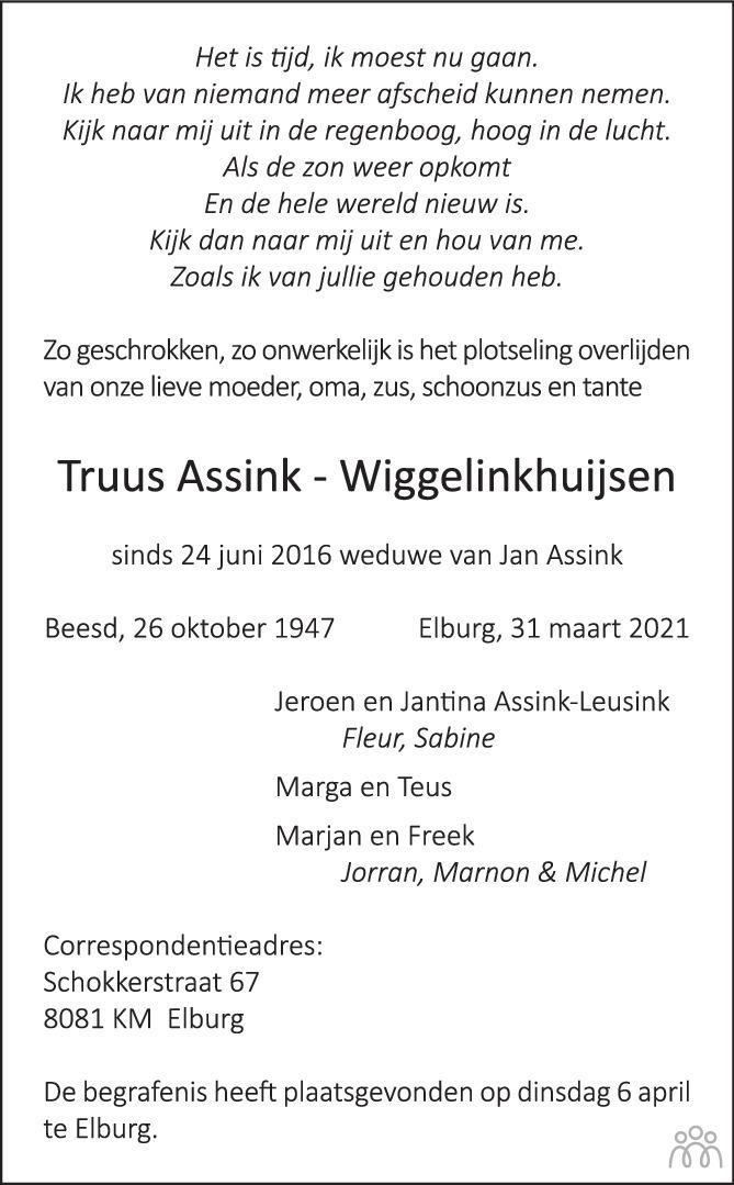 Overlijdensbericht van Truus Assink-Wiggelinkhuijsen in Huis aan Huis Elburg Oldebroek Nunspeet