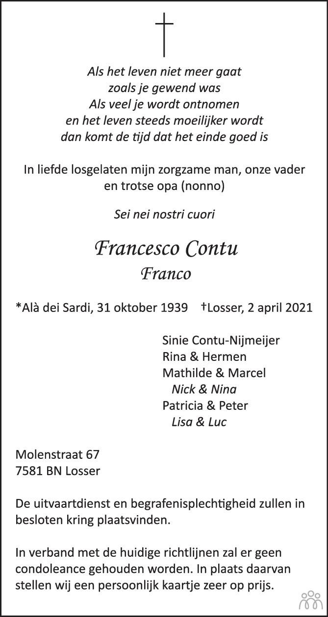 Overlijdensbericht van Francesco (Franco) Contu in Tubantia