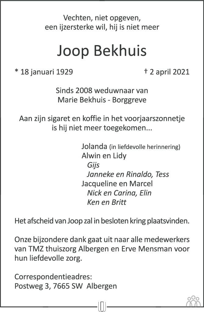 Overlijdensbericht van Joop Bekhuis in Tubantia