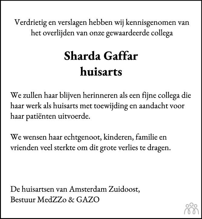 Overlijdensbericht van Sharda Gaffar in Het Parool