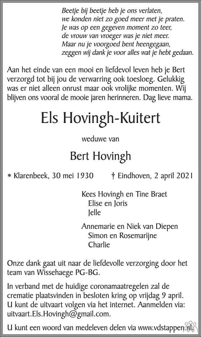 Overlijdensbericht van Els Hovingh-Kuitert in Eindhovens Dagblad