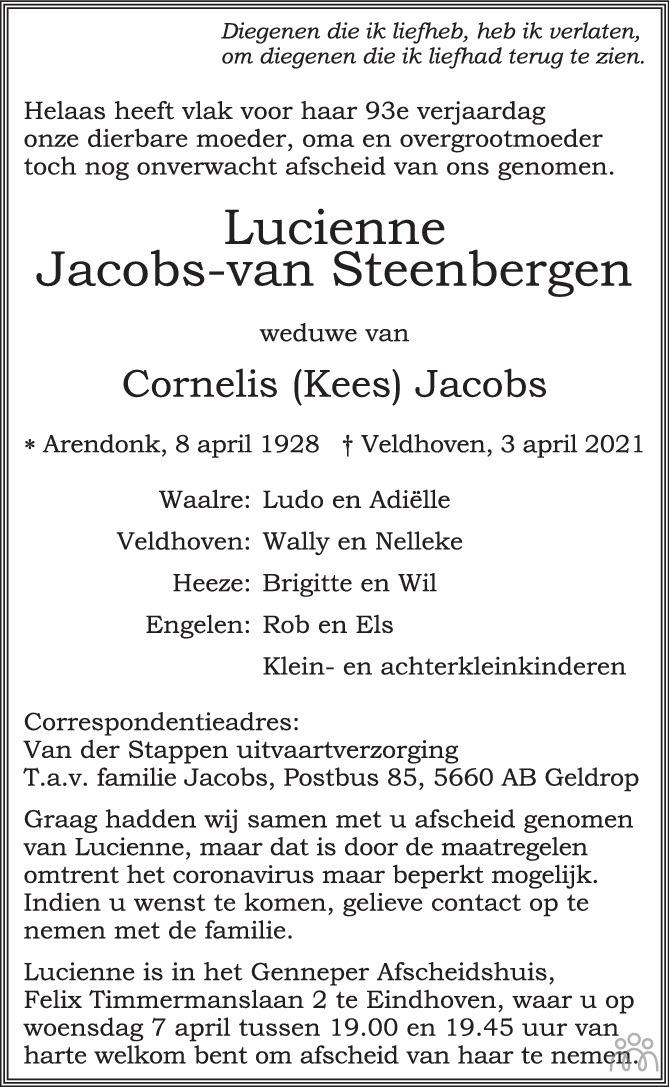 Overlijdensbericht van Lucienne Jacobs-van Steenbergen in Eindhovens Dagblad