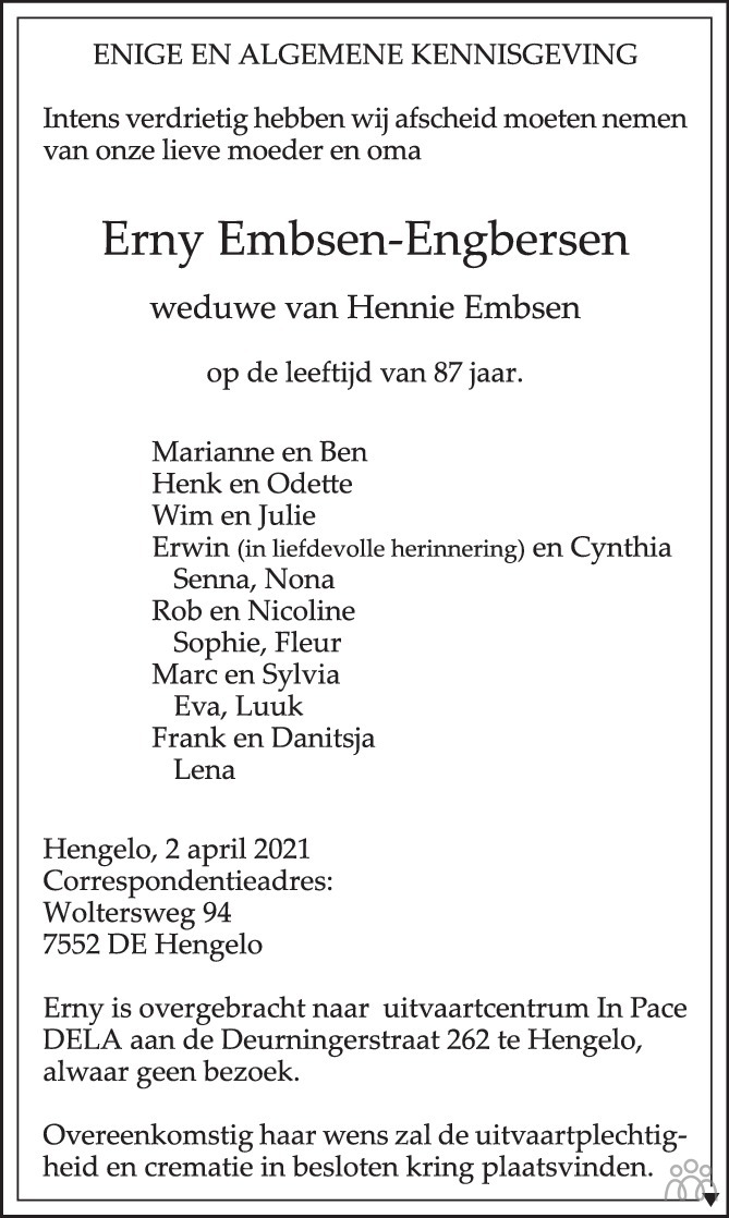 Overlijdensbericht van Erny Embsen-Engbergsen in Tubantia