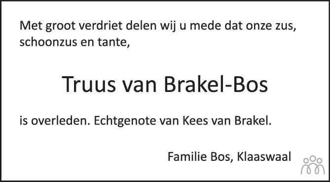 Overlijdensbericht van Truus van Brakel-Bos in Het Kompas woensdag