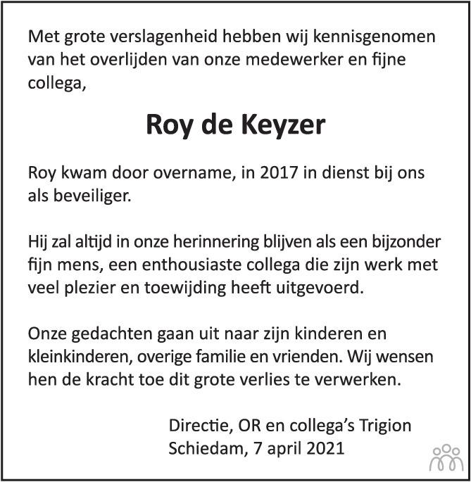 Overlijdensbericht van Roy de Keyzer in Het Parool