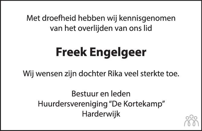 Overlijdensbericht van Freek Engelgeer in Harderwijker Courant