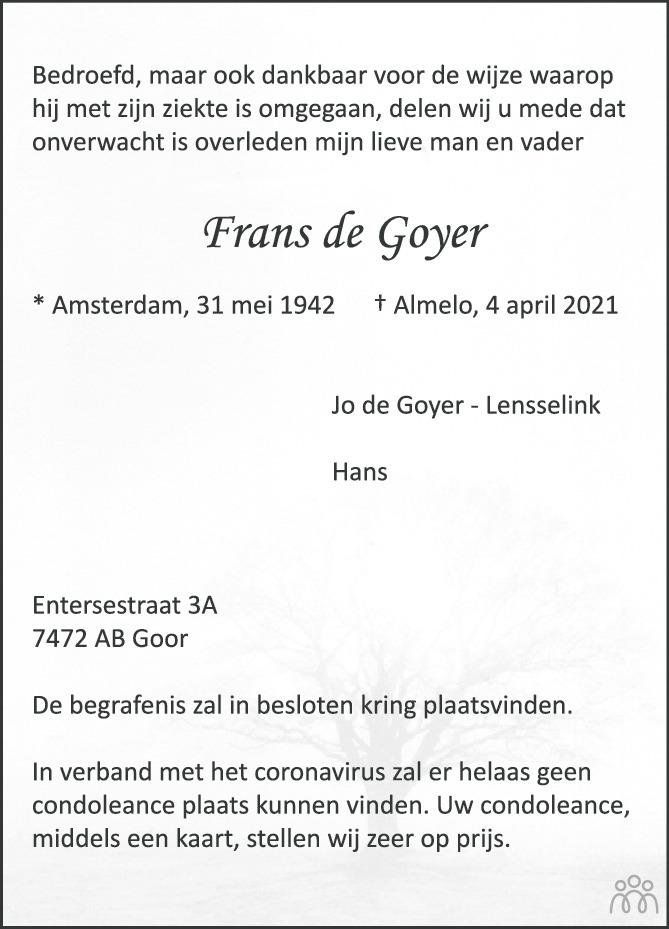 Overlijdensbericht van Frans de Goyer in Tubantia