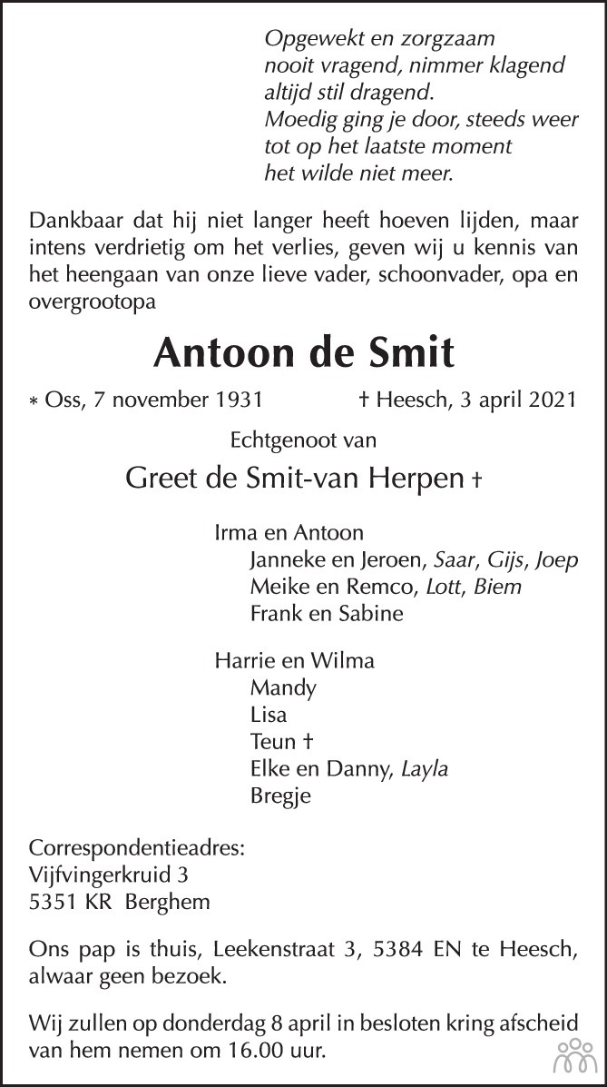Overlijdensbericht van Antoon de Smit in Brabants Dagblad