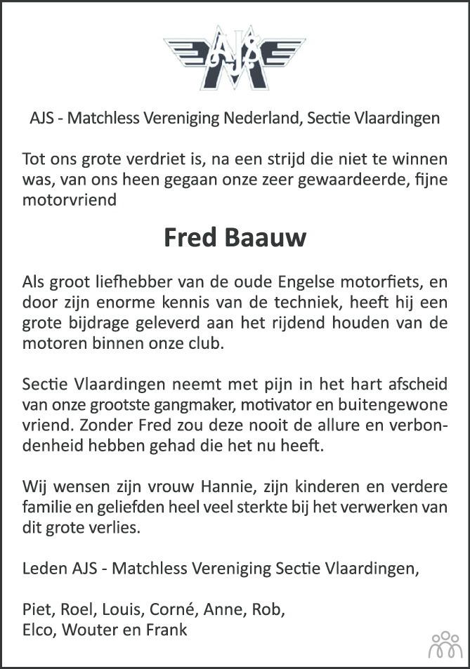 Overlijdensbericht van Fred Baauw in Groot Vlaardingen