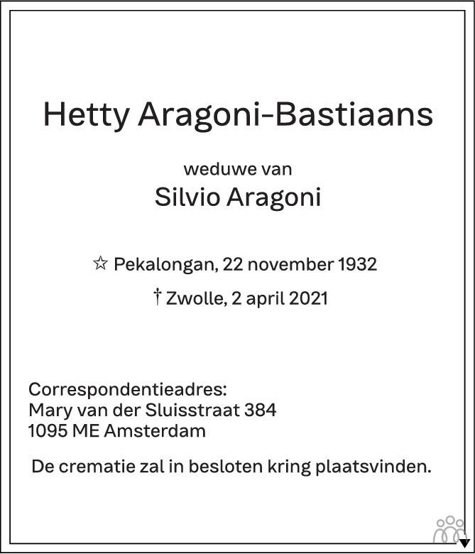 Overlijdensbericht van Hetty Aragoni-Bastiaans in de Stentor