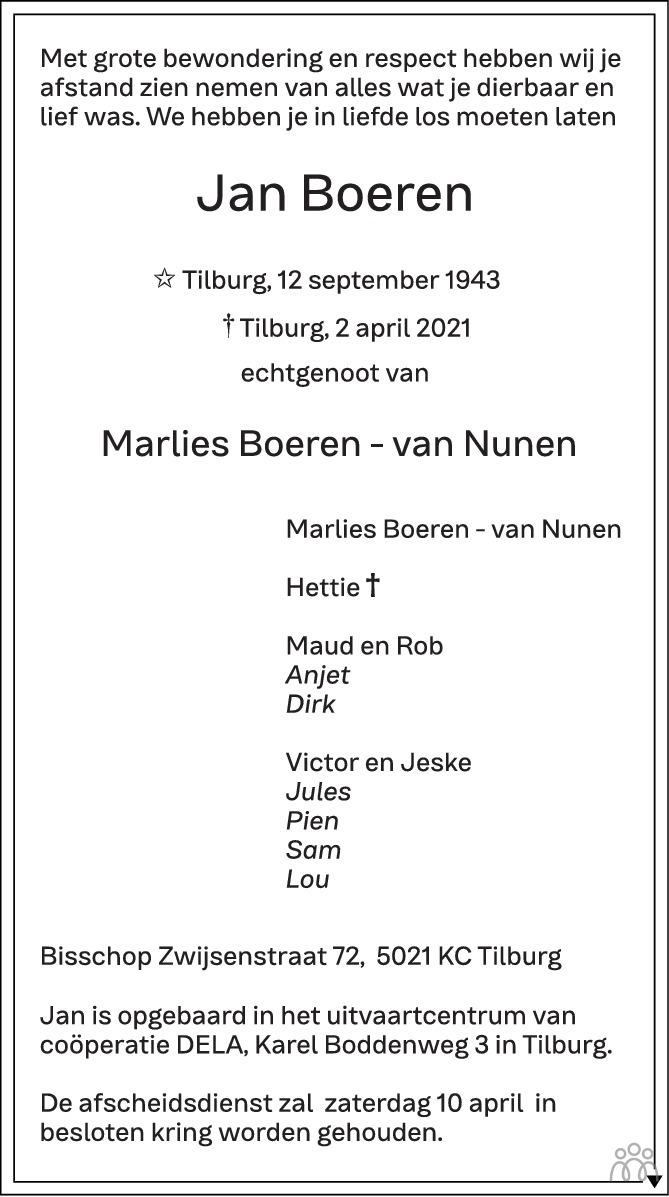 Overlijdensbericht van Jan Boeren in Brabants Dagblad