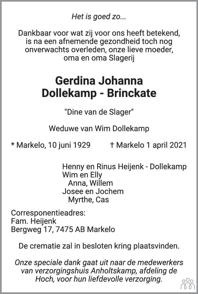 Overlijdensbericht van Gerdina Johanna Dollekamp-Brinckate in Tubantia