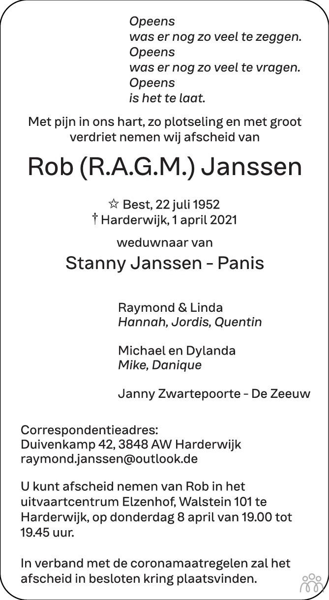 Overlijdensbericht van Rob (R.A.G.M.) Janssen in Harderwijker Courant