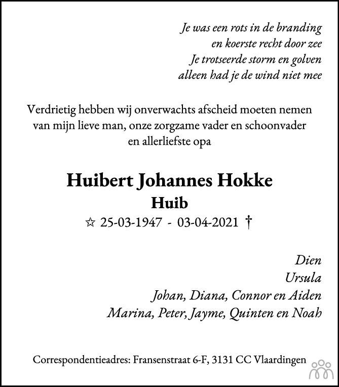 Overlijdensbericht van Huibert Johannes (Huib) Hokke in Groot Vlaardingen