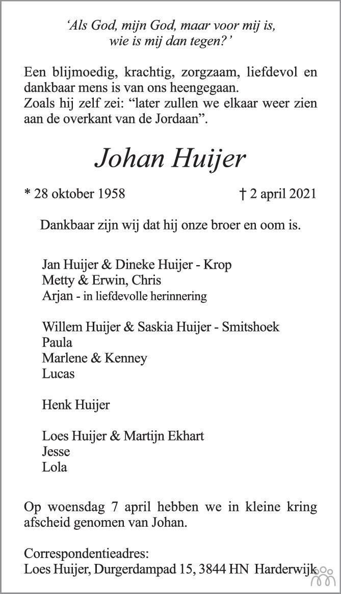Overlijdensbericht van Johan Huijer in Harderwijker Courant