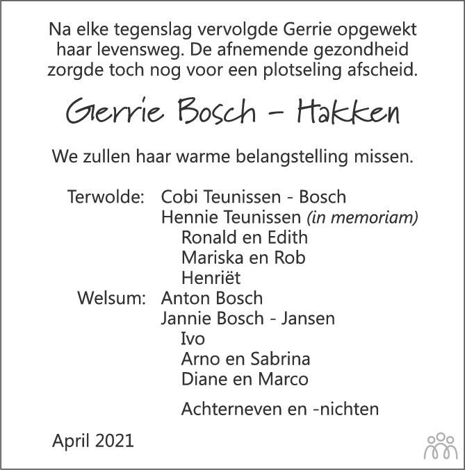 Overlijdensbericht van Gerrie (Gerritdina Johanna) Bosch-Hakken in de Stentor
