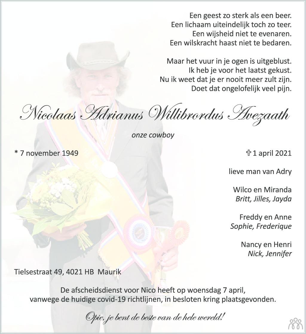 Overlijdensbericht van Nicolaas Adrianus Willebrordus Avezaath in Zakengids Combinatie
