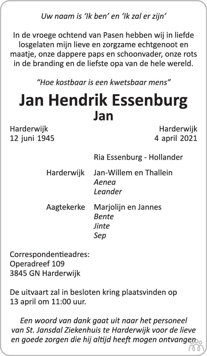 Overlijdensbericht van Jan Hendrik (Jan) Essenburg in Harderwijker Courant