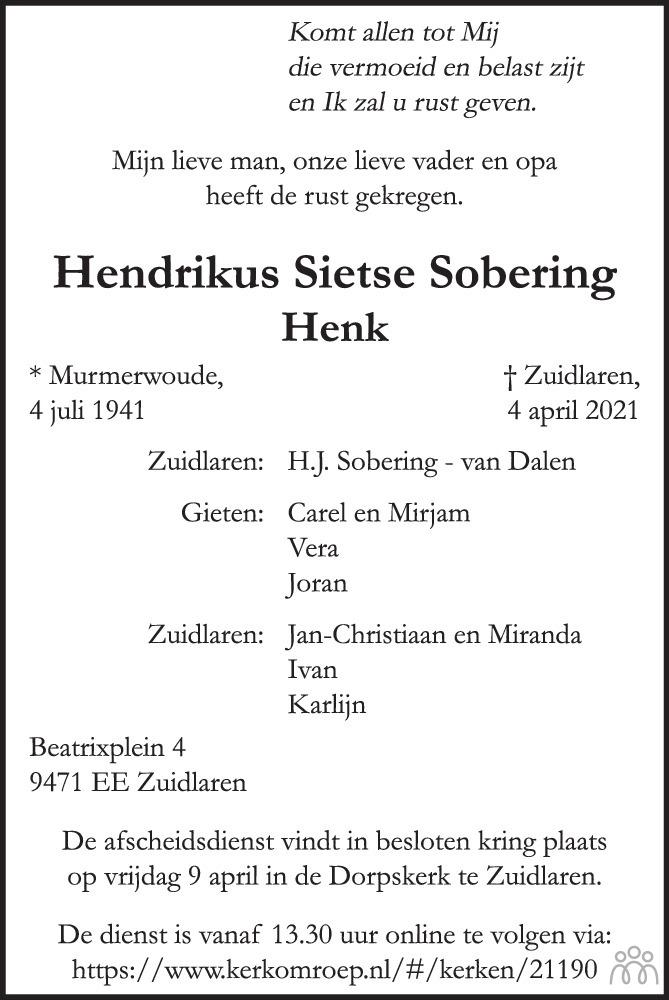 Overlijdensbericht van Hendrikus Sietse Sobering in Trouw