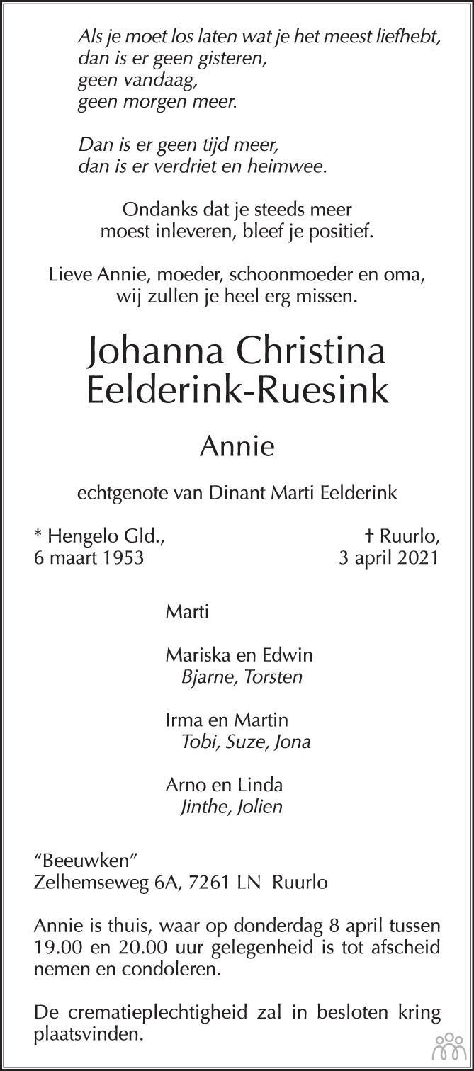 Overlijdensbericht van Johanna Christina (Annie) Eelderink-Ruesink in de Stentor