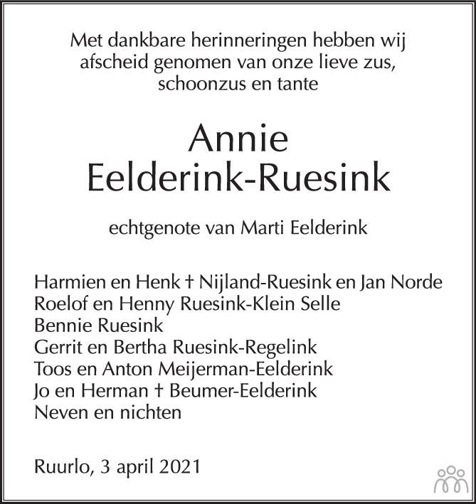 Overlijdensbericht van Johanna Christina (Annie) Eelderink-Ruesink in de Gelderlander