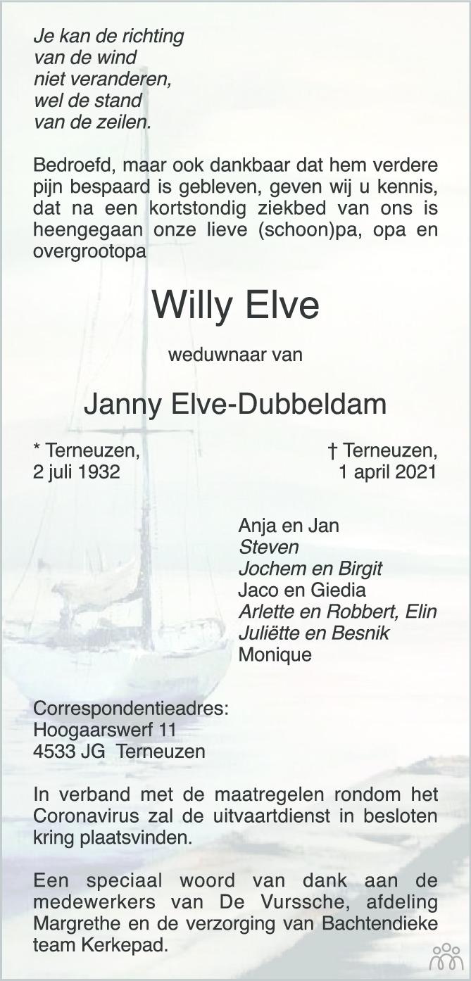 Overlijdensbericht van Willy Elve in PZC Provinciale Zeeuwse Courant