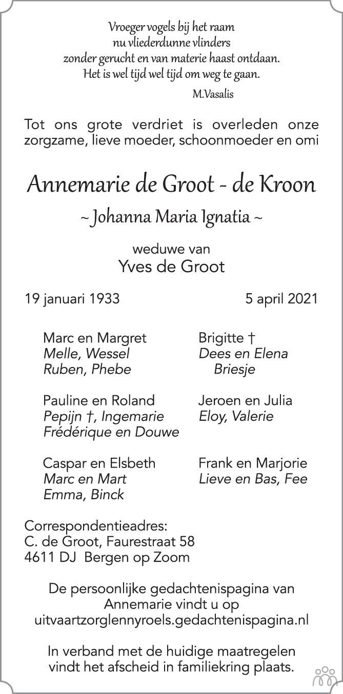 Overlijdensbericht van Annemarie (Johanna Maria Ignatia) de Groot -de Kroon in BN DeStem