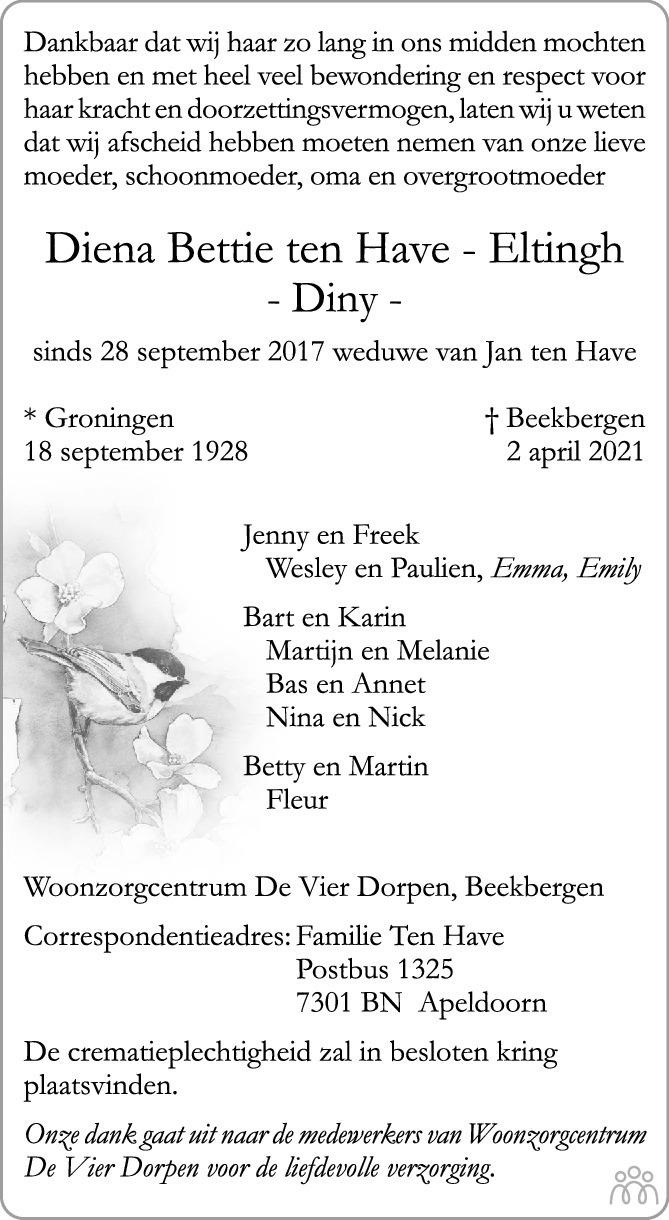 Overlijdensbericht van Diena Bettie (Diny) ten Have-Eltingh in de Stentor