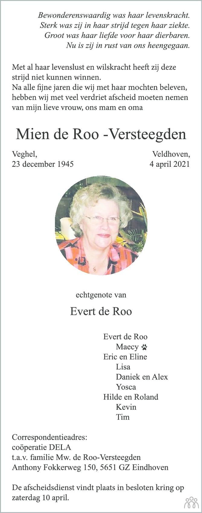 Overlijdensbericht van Mien de Roo-Versteegden in Eindhovens Dagblad