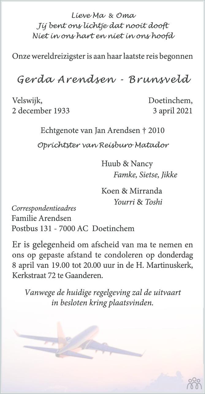 Overlijdensbericht van Gerda Arendsen-Brunsveld in de Gelderlander