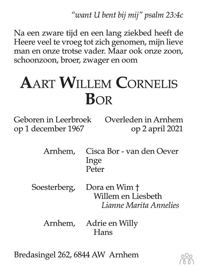 Overlijdensbericht van Aart Willem Cornelis Bor in de Gelderlander