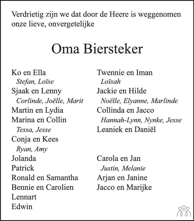 Overlijdensbericht van Jacoba Biersteker-Mieras in PZC Provinciale Zeeuwse Courant