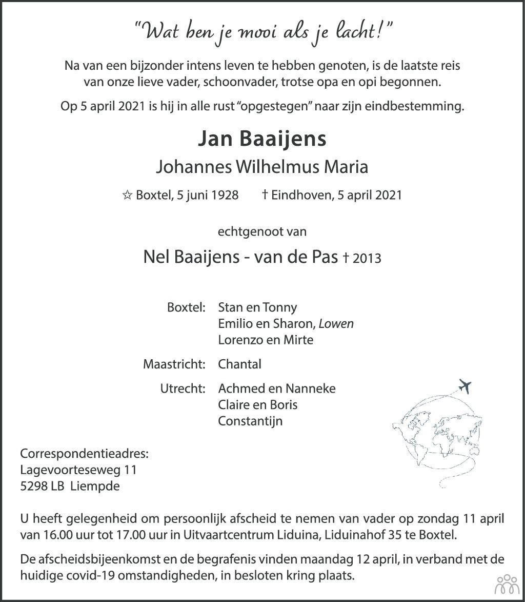 Overlijdensbericht van Jan (Johannes Wilhelmus Maria) Baaijens in Brabants Dagblad