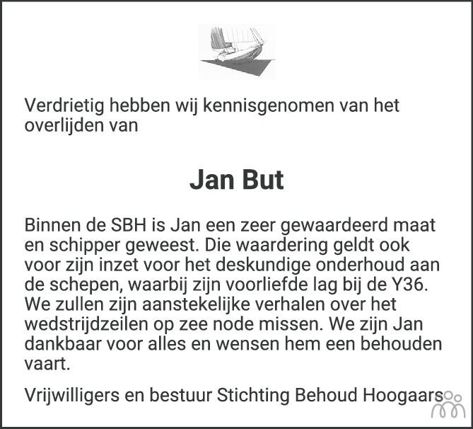 Overlijdensbericht van Jan But in PZC Provinciale Zeeuwse Courant