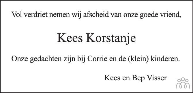 Overlijdensbericht van Kees Korstanje in PZC Provinciale Zeeuwse Courant