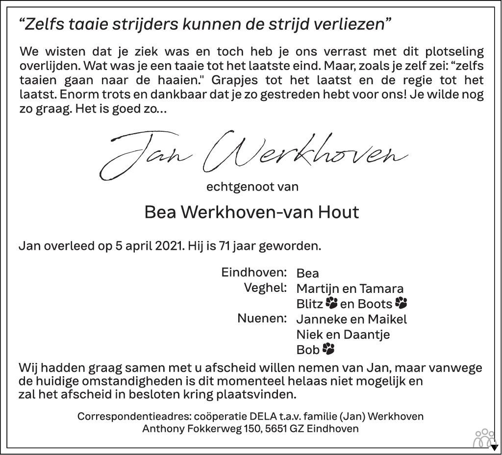 Overlijdensbericht van Jan Werkhoven in Eindhovens Dagblad