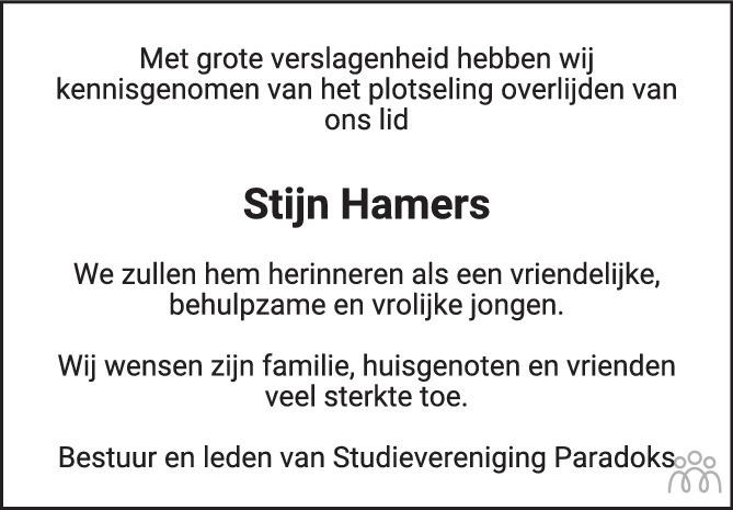 Overlijdensbericht van Stijn Hamers in BN DeStem