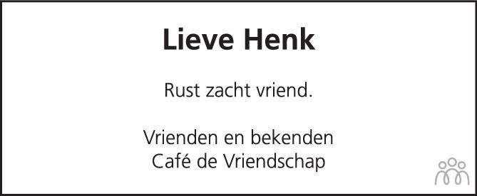 Overlijdensbericht van Henk van Huizen in PZC Provinciale Zeeuwse Courant