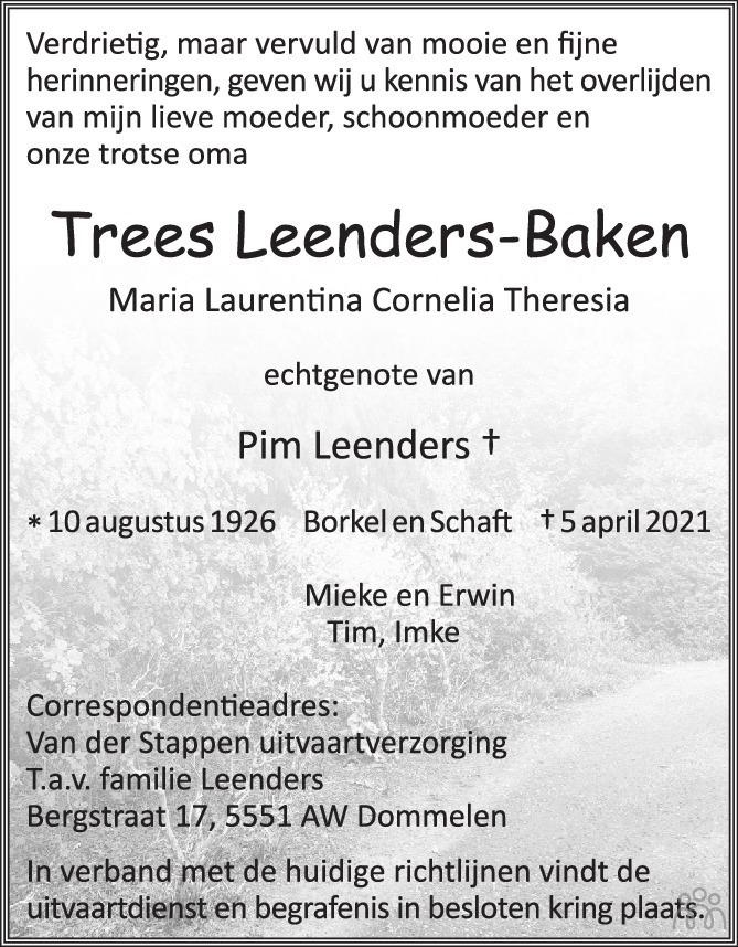 Overlijdensbericht van Trees Leenders-Baken in Eindhovens Dagblad